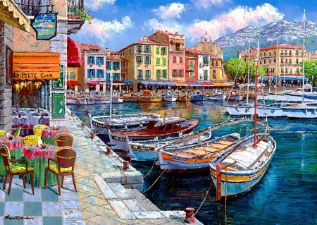 Cafe in Cassis - art, village, houses, boats, harbor, beautiful, cafe, picturesque, painting