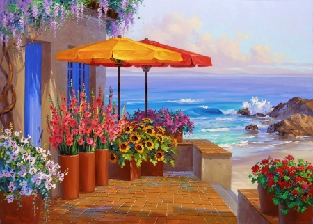 Summer Veranda - rocks, house, painting, flowers, umbrella, artwork, sea