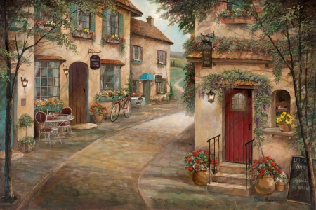 Street Scenery - village, houses, artwork, street, painting