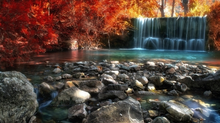 Waterfall and Forest - forest, rocks, autumn, waterfall, nature, trees