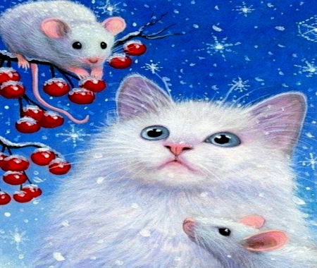 White Kitten And Mice - Blue Eyes, White, Kitten, Berrries, Mice