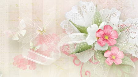 Flowers of Summer - butterflies, netting, delicate, blossoms, soft, flowers, summer, ribbons, Firefox theme