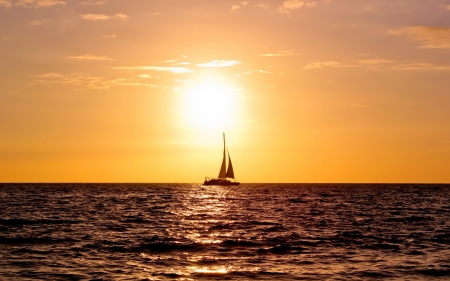 Sailing boat - Sea, Orange sky, Calm, Sunset