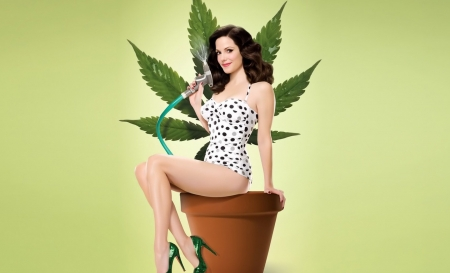 Weeds~Mary-Louise Parker - woman, sexy, brunette, actress, people, feminine, bathing suit, flower pot, weeds, fashion