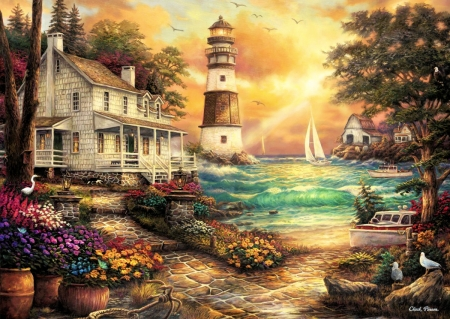 Cottage By The Sea - house, cove, sunset, sky, trees, clouds, artwork, lighthouse, boat, painting