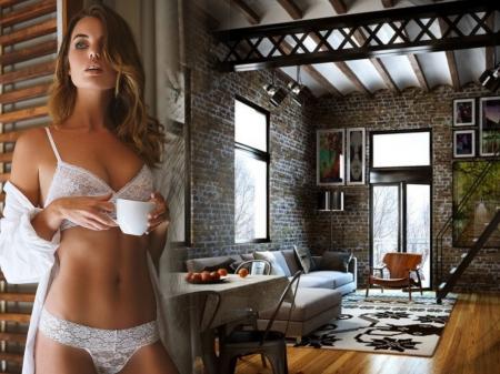 Hello...wish you a Good Morning - coffee, girl, living room, morning, sexy, bikini, women
