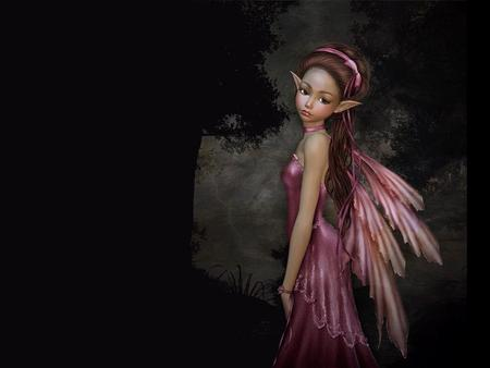 Little Rosi Fairy - faerie, young, wings, elf, pink, fairy, lil
