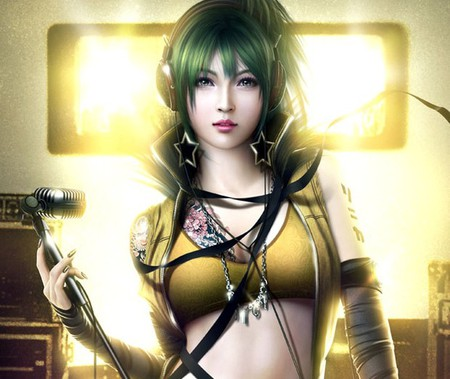 Vocaloid Sonika - singer, girl, yellow