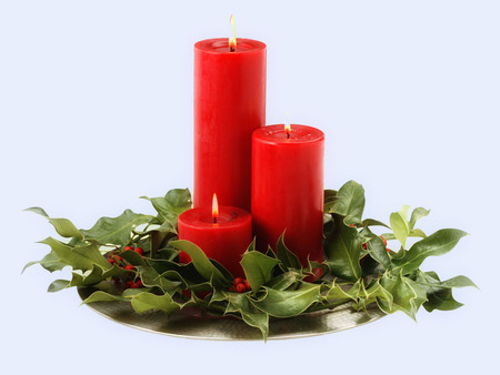 Christmas Candles! - red, christmas, holiday, candles, leaves, merry christmas, merry, beauty, light