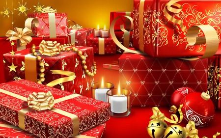 All yours!!! - candles, christmas, gift box, ribbon, merry christmas, red, cute, lovely, gifts, boxes, gift, love