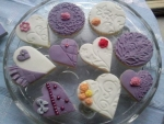 Heart  Purple And White Cookies
