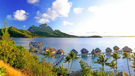 Overwater Bungalows in Bora Bora - resort, ocean, trees, clouds, sky, Nature, bora bora, mountains, bungalows