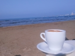 Greetings with coffee from beach...besh...