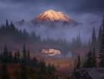 Mount Rainier in Morning Mist, Washington