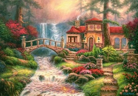 Castor Land - fall, water, bridge, home, puzzle
