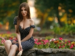 Summer Girl in Polka-Dot Dress