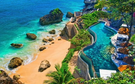 Swimming Pool with Ocean View - rocks, sand, nature, trees, pool, swimming, oceam