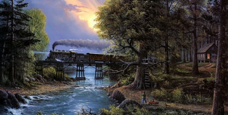 At The River Crossing - crows nest, sunset, steam, water, train, crossing, painting, river, woodland