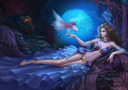 sea nymph fantasy abstract background wallpapers on desktop