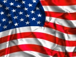 American Flag on Silk Background
