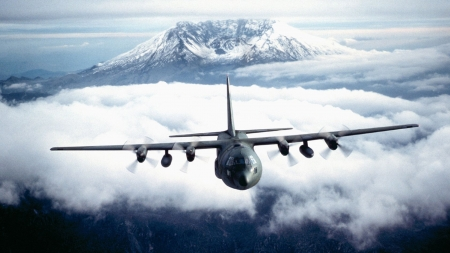 C130 Hercules over Mt St Helens - mountain, military, plane, cargo plane
