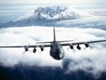 C130 Hercules over Mt St Helens