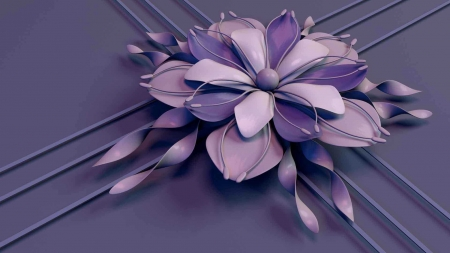 3D Art - art, flower, lavender, monochrome, abstract