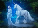 Fantasy Unicorn and Woman