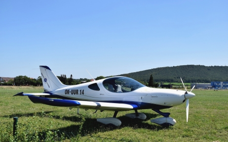 Private Plane - aircraft, plane, grass, airfield