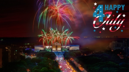 Happy 4th July - indepedance, usa, fireworks, memorial, lincoln, america