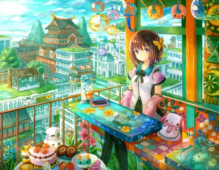Confectionery - cake, pretty, colorful, house, scenic, hd, home, beautiful, adorable, sweet, nice, multicolor, anime, love, beauty, anime girl, table, female, lovely, food, brown hair, palace, sky, short hair, cute, kawaii, girl, scene, landscape