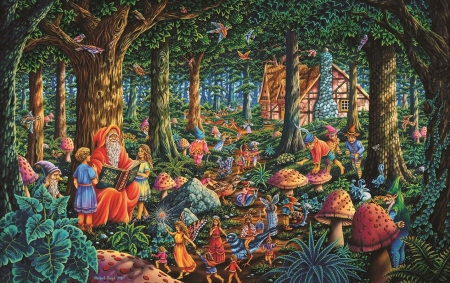 Fairytale Forest - gnomes, sorcerer, painting, trees, artwork, animals