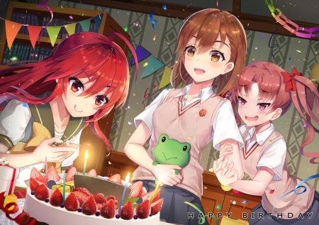 Crossover - cake, to aru railgun, to aru index, kuruko, misaka, shakugan no shana, shana, mikoto, shirai