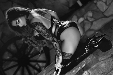 The Dark Barn . . - tattoos, models, cowgirl, boots, ranch, women, barn, brunettes, wagon wheel, western, style