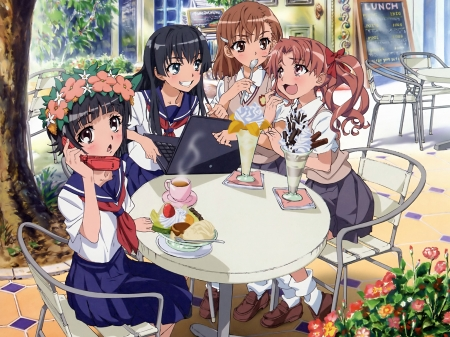 Having fun with friends - ruiko, uiharu, misaka, to aru railgun, to aru index, anime, kuruko, shirai