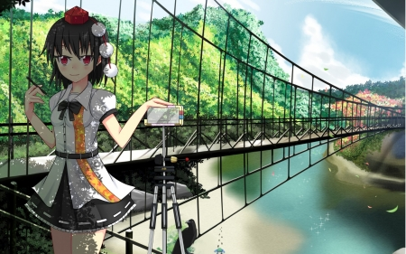 touhou project - touhou, project, bridge, girl