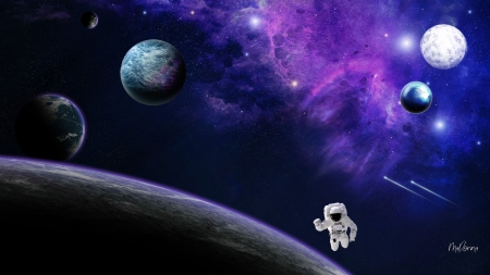 Lost in Space - Firefox theme, stars, moons, planets, shooting stars, milkyway, astronaut, space, purple, lost, space walk