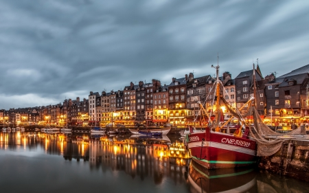 Honfleur, France - houses, town, river, France, boats