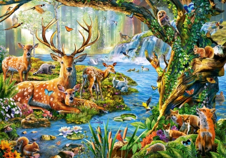 Forest Life - fawn, squirrel, birds, creek, trees, artwork, deer, painting, flowers