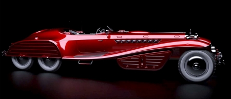 1942 Hydra-Schmidt Coupe - red, six wheels, concept, movie, film, car, captain america, avengers