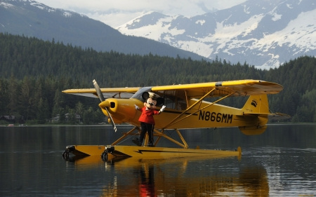 Seaplane and Mickey Mouse - forest, mountains, Mickey Mouse, seaplane, lake
