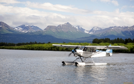 Seaplane in the Lake - plane, seaplane, lake, mountains