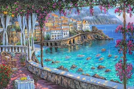 Amalfi Coast - veranda, table, houses, artwork, sea, painting, village, chair, italy