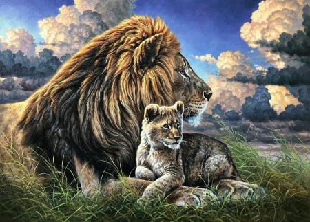 Father and Son - hdr, lion, wallpaper, animal
