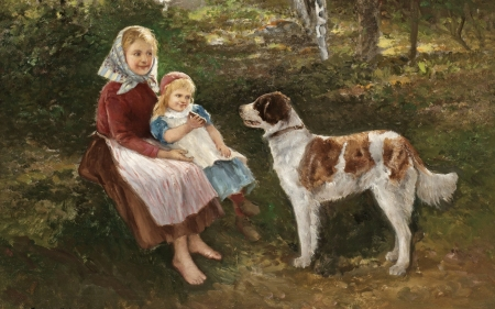 Children and a dog - art, girl, painting, copil, sisters, child, johan severin nilson, dog