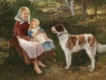 Children and a dog
