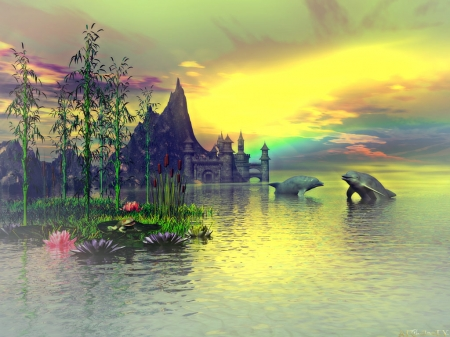 Scenery 3D - art, waterlilies, sunset, clouds, sky, mountain, whales, water, castle
