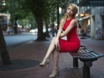 Woman in Red on Bench