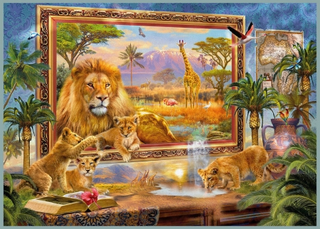 Lions Coming to Life - painting, wall, artwork, animals