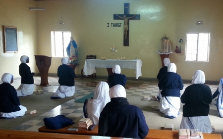 Sisters at Adoration - Africa, Charity, sisters, church, Jesus, adoration